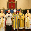 Father Hahn, Brett, Bishop Garland, Deacon Reed Hauser, Father Noble