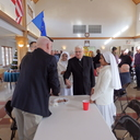 Bishop Garland greeting Chip Walder from St. Peter, Chillicothe